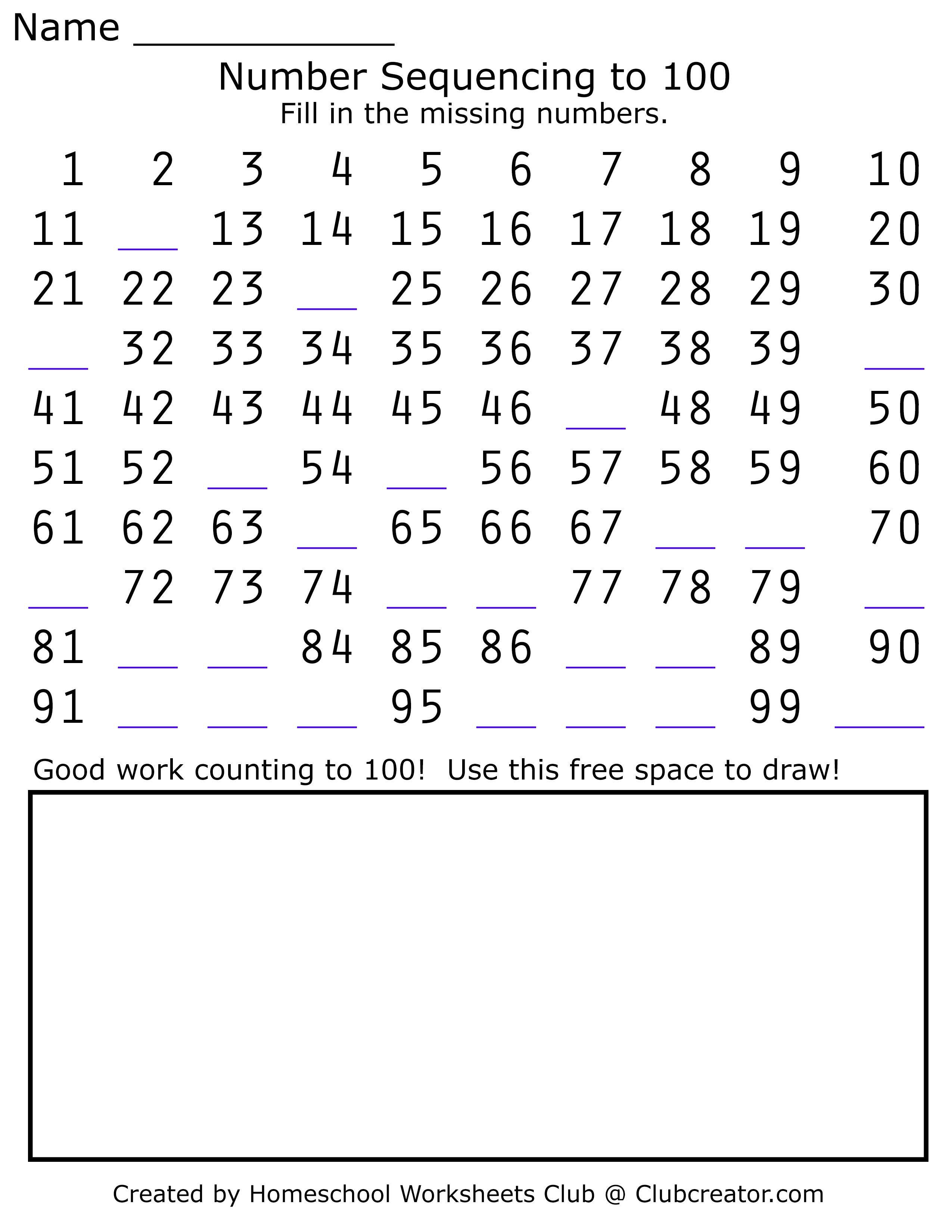 Numbers Up To 100 Worksheet Homeschool Worksheets Math Practice Worksheets Online Kindergarten [ 3300 x 2550 Pixel ]