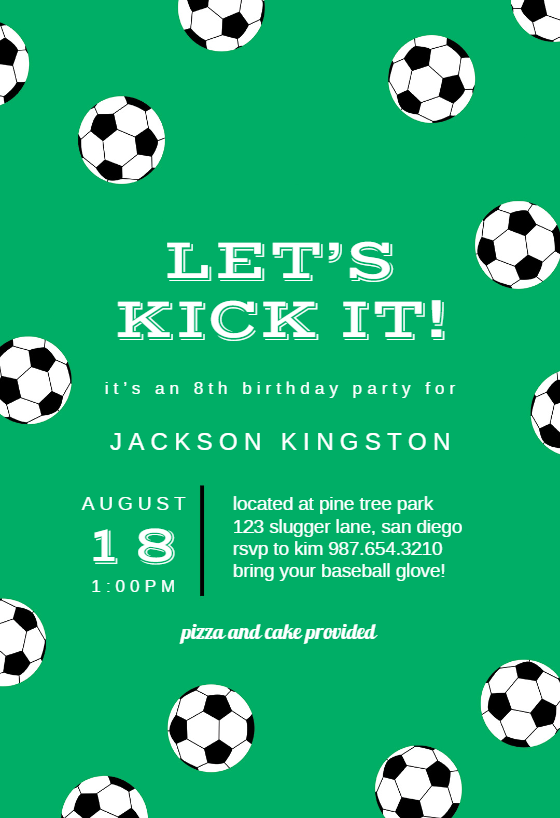soccer birthday invitation template customize add text and photos