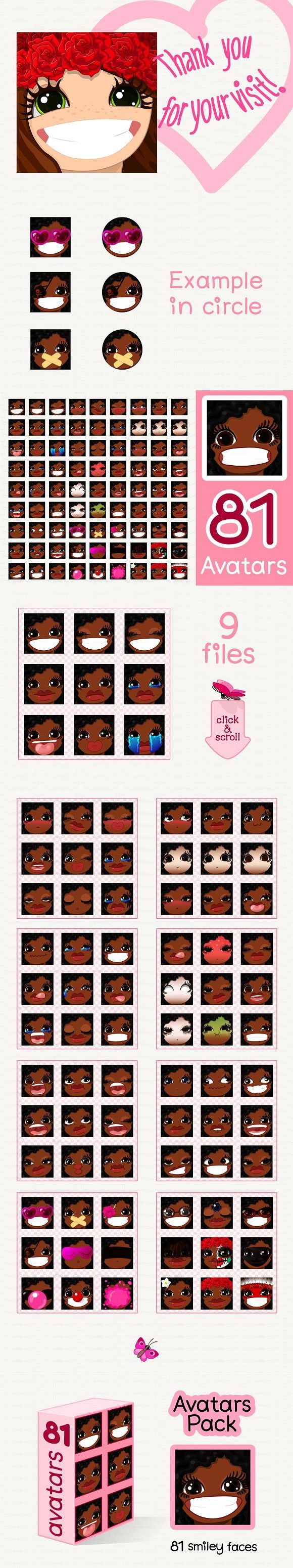 ♥ vector Avatars Pack 81 | Funny Emoticons Design | Smiley