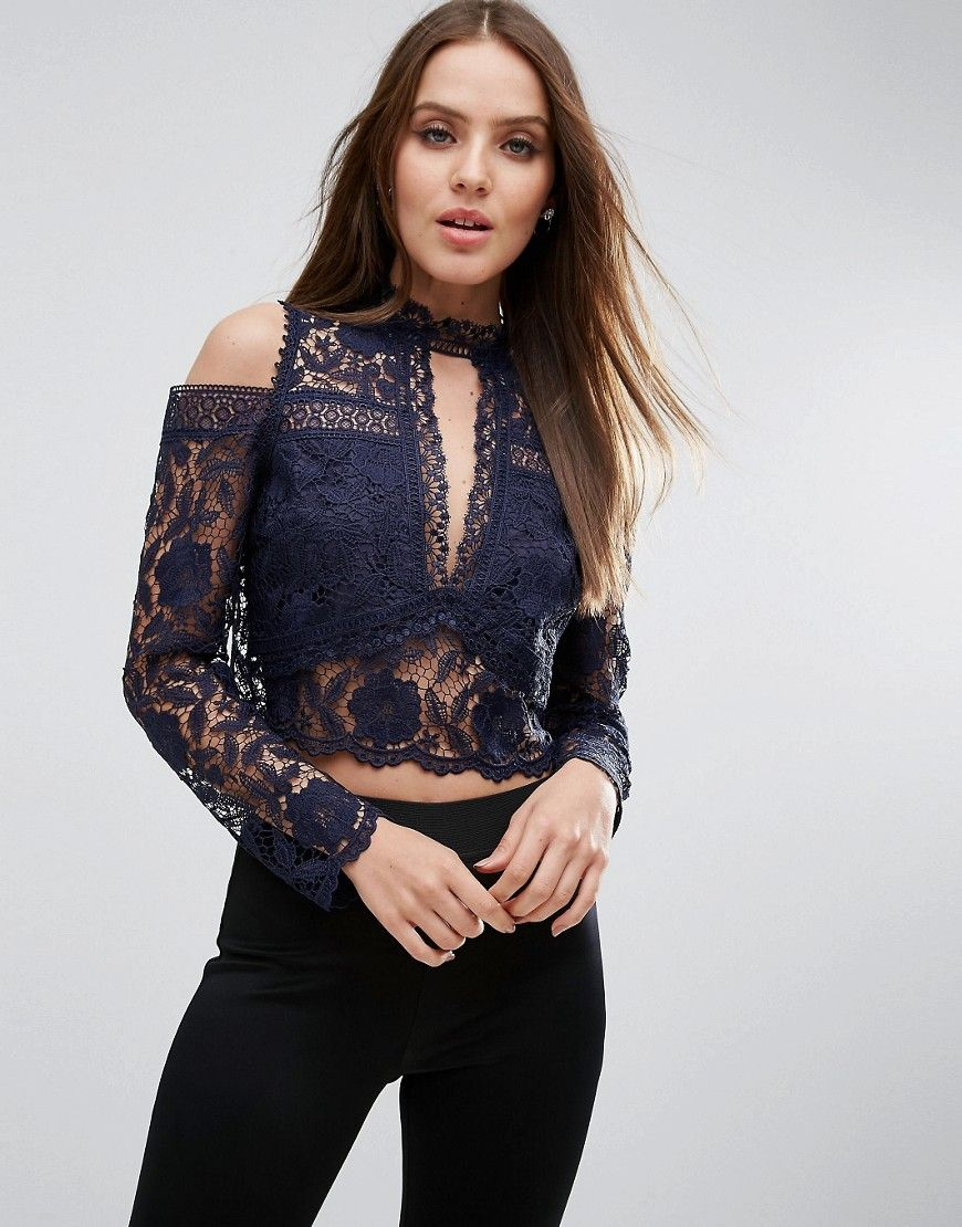 515f64fa2d6f19 ASOS High Neck Cold Shoulder Trophy Top in Mixed Lace - Navy ...