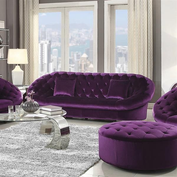 Romanus Traditional Purple Velvet Wood Encased Frame Tufted Sofa