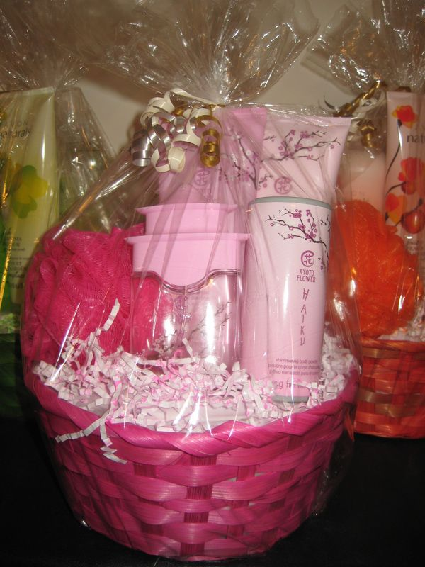 Avons haiku kyoto flower gift basket includes eau de parfum spray avons haiku kyoto flower gift basket includes eau de parfum spray body lotion shower gel shimmering body powder and body poufl wrapped up in a negle Image collections