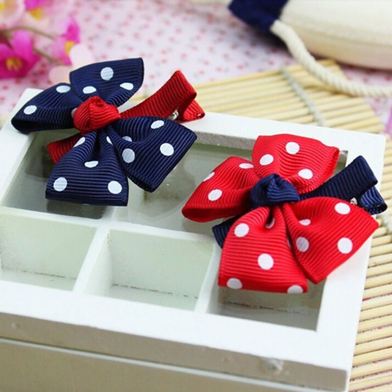 1pcs Flower Candy Color Hairclip Dot Hair Bow For Girls