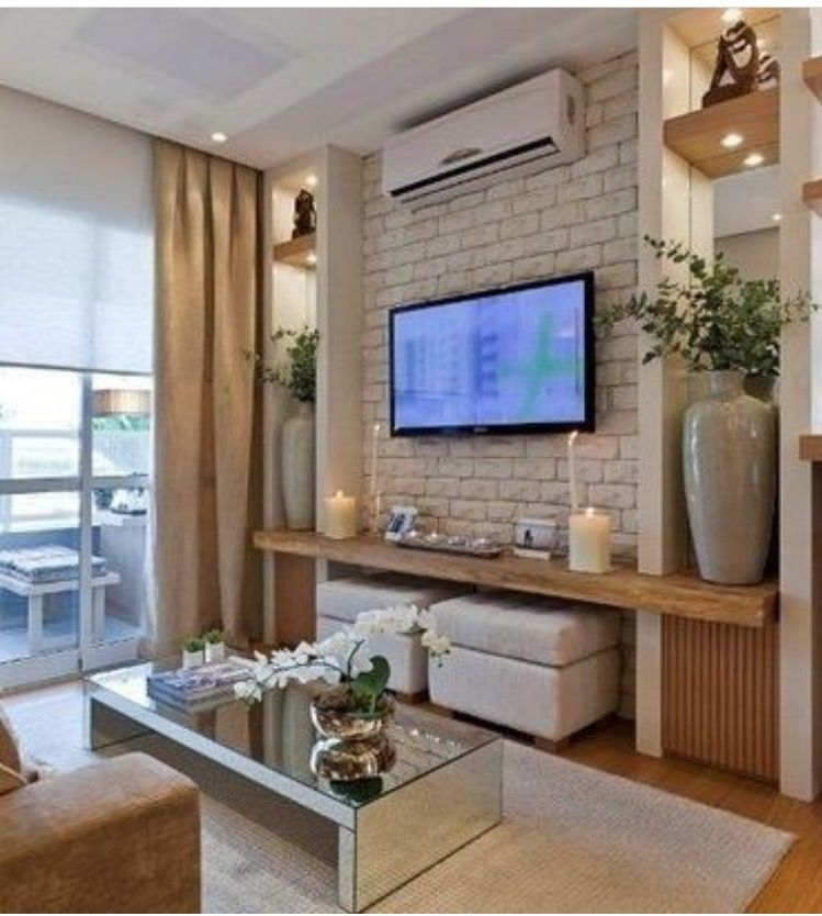 Tv Back Wall Can Be Made By Country Bricks And A Thick Coating Of Paint The Grill Must Be Placed At The Slab Edge And Fre Home Living Room Decor House Interior