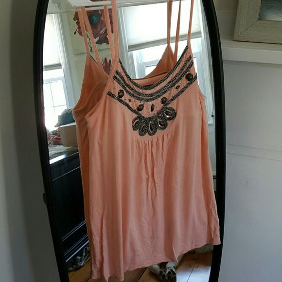 Designer top Peach colored tank with built in bralette and gorgeous metallic detail on neckline Willi Smith Tops Tank Tops