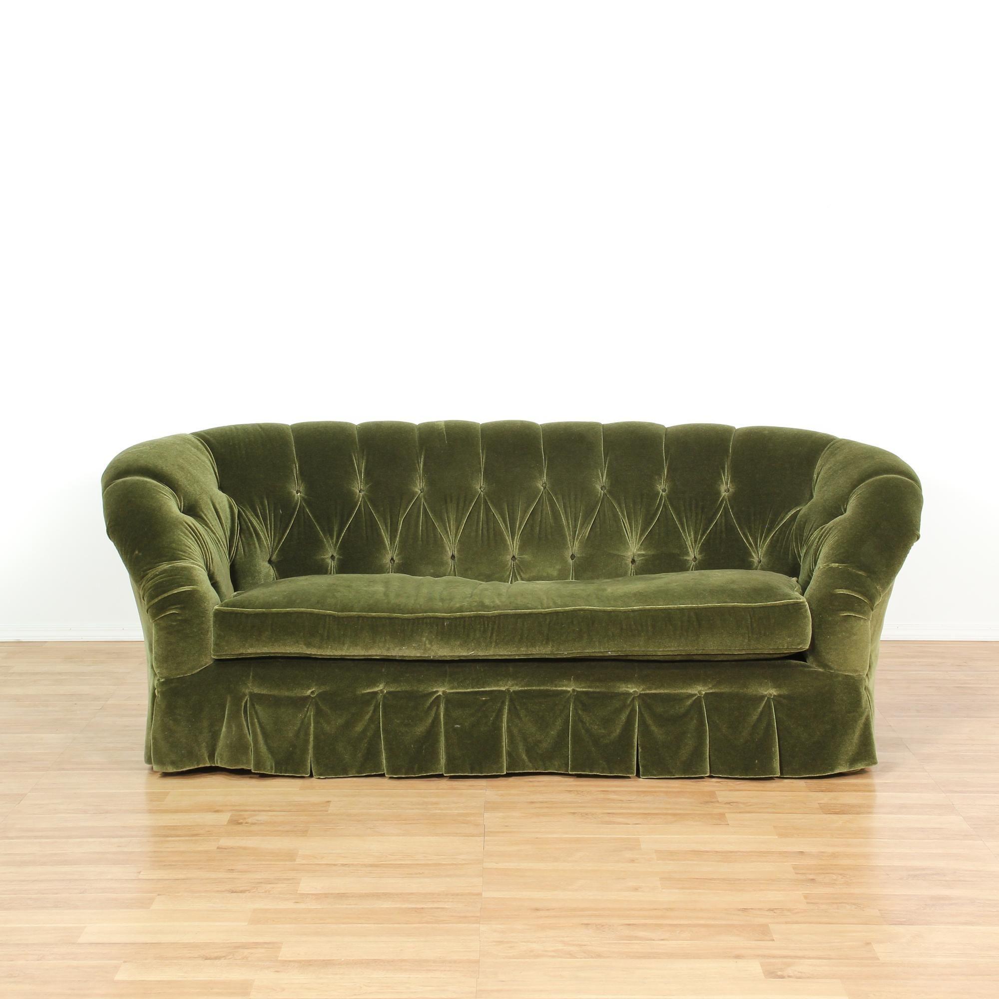 Green Cut Velvet Tufted Sofa | Loveseat Vintage Furniture San Diego U0026 Los  Angeles