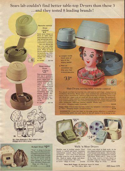 Tabletop Hairdryers ~ 1969 Sears Christmas Catalog
