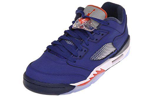 69c4e2fe3ec8 Nike Air Jordan 5 Retro Low GS Kids Basketball Shoes Deep Royal Blue Team Orange  Midnight Navy W 45Y M US      AMAZON BEST BUY