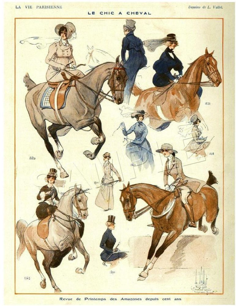 RARE Vintage SIDESADDLE Antique Horse FASHION Magazine Cover *CANVAS* Art PRINT