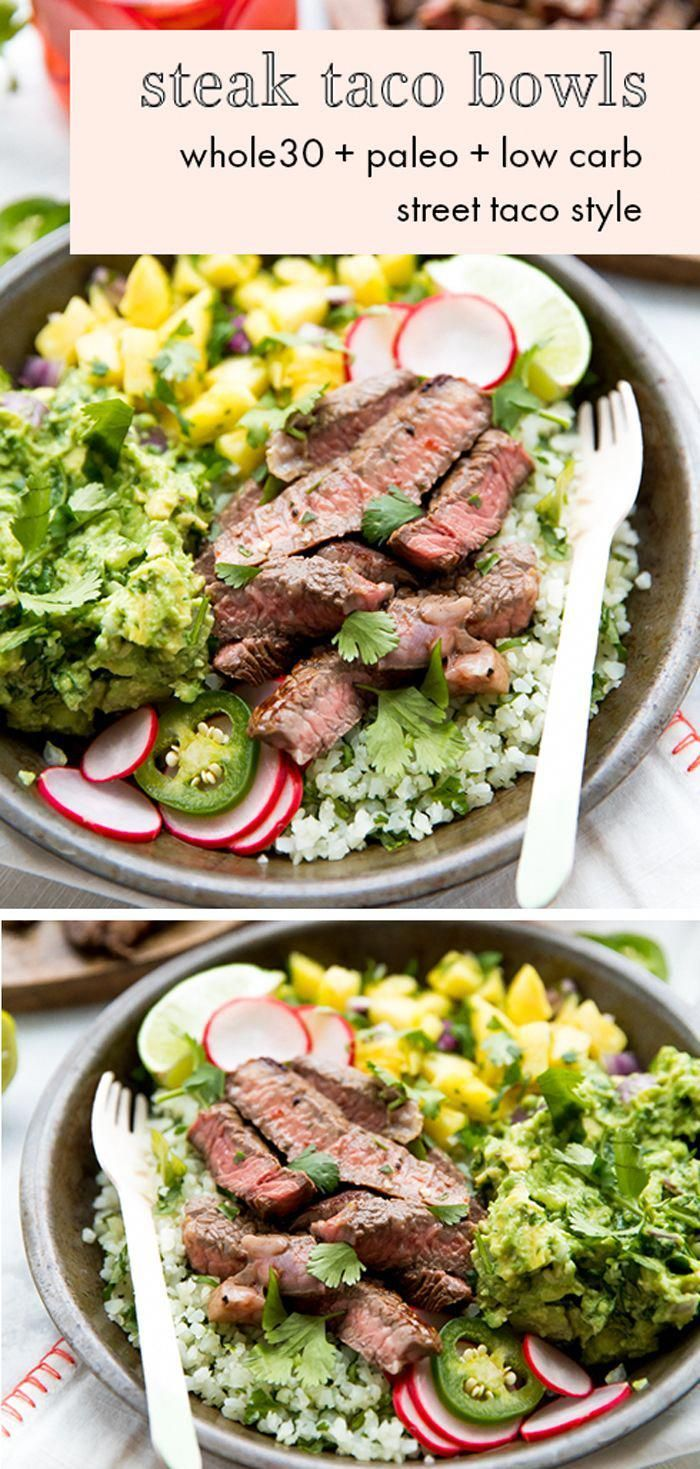 Steak Taco Bowls. These steak taco bowls are so flavorful with tender steak, creamy guac, sweet pineapple salsa, and cilantro-lime cauliflower rice. Whole30, paleo, and low carb, they're a healthier Whole30 Mexican recipe that the whole family will love.