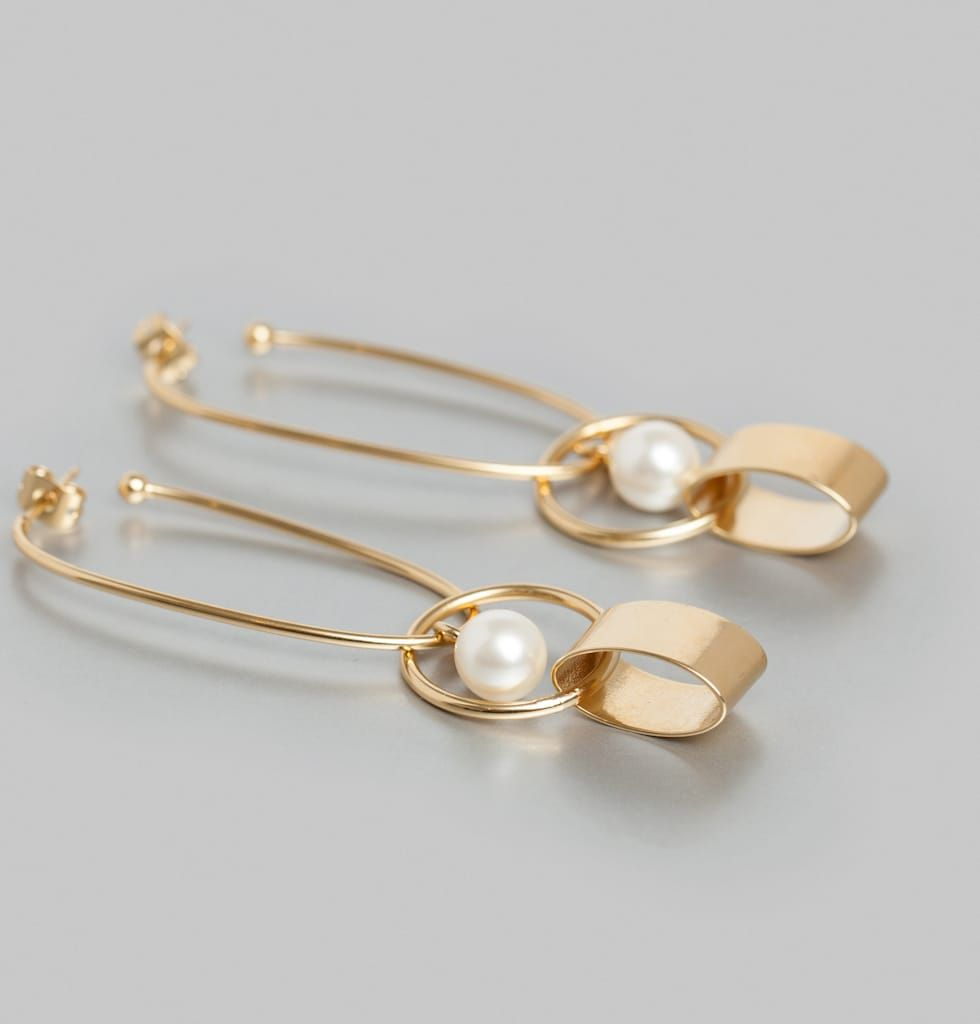 Adjule Hoop Earrings With Pendant Attachments And Pearl Charm For Pierced Ears 24 Carat Gold Plated Inspired Her Home Grown Silver Screen Divas Like