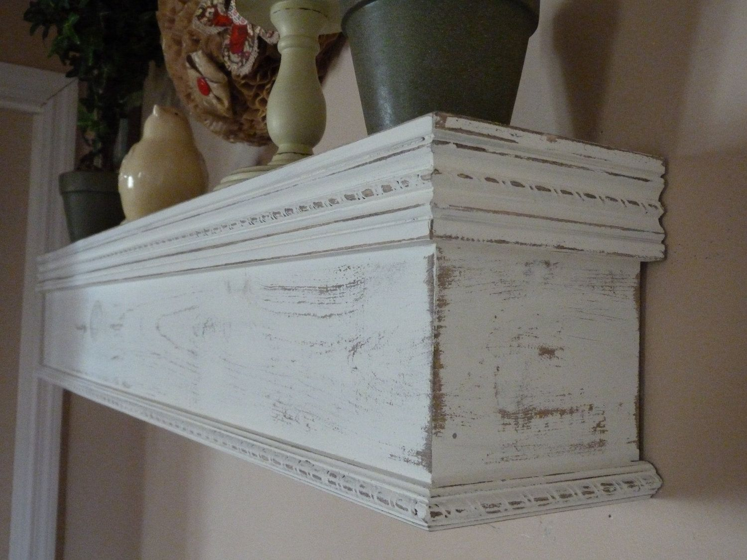 Shabby Chic Distressed White Mantle Shelf By Rusticprairiecottage 139 99 White Mantle Rustic Mantle Distressed White Bedroom Furniture