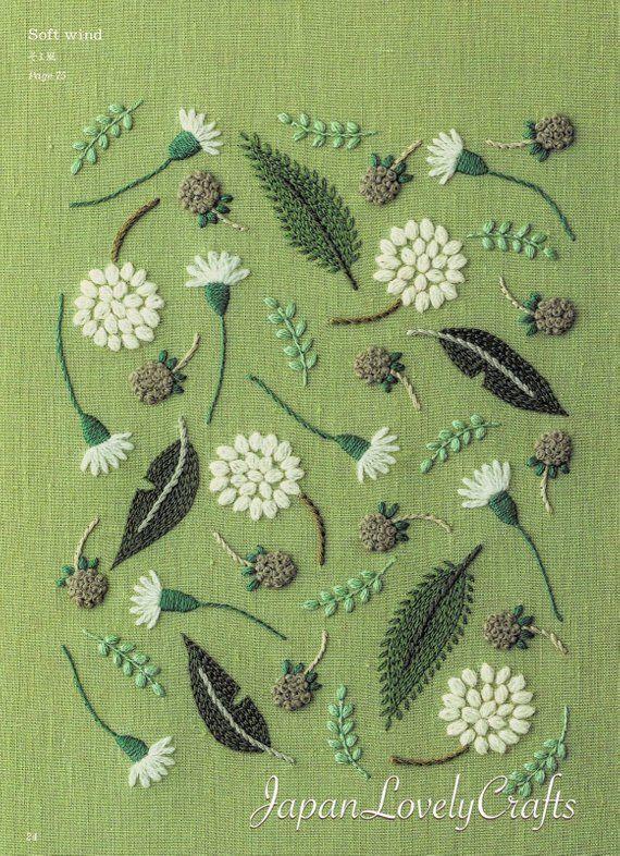 Handstickerei botanische Muster, gestickte Blume, Pflanze, Blatt, Vogel Design, …