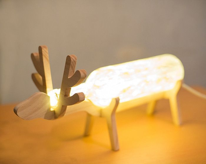 Deer Winebottle Table Lamp Lights, Craft and Woods