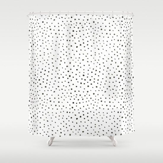 Shower Curtain Polkadot Black And White Dalmatian Print Bathroom Decor