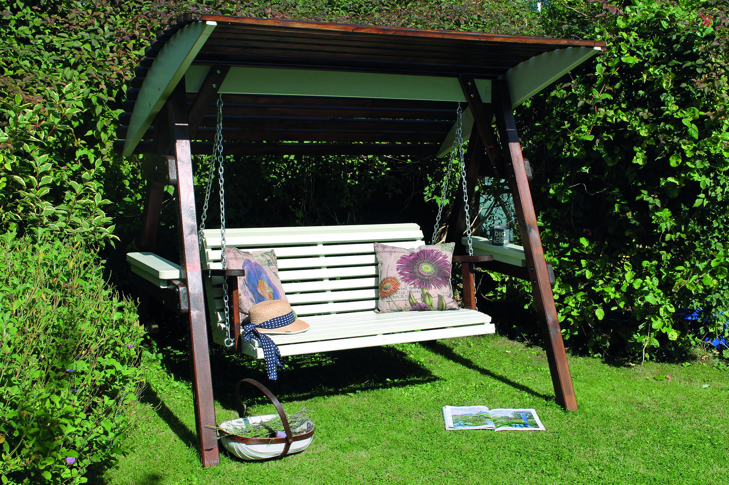 Miami Swing Seat from Zest 4 Leisure painted with Royal Exterior Taupe and Oak