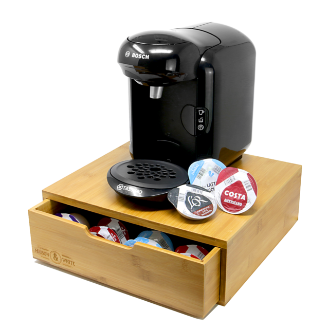 Bamboo 64 Tassimo Pod Holder Capsule Drawer Coffee