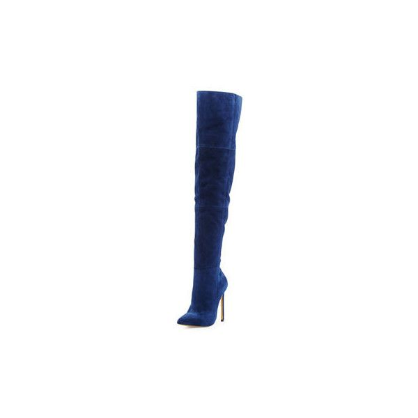 Thigh high boots outfit, Blue suede