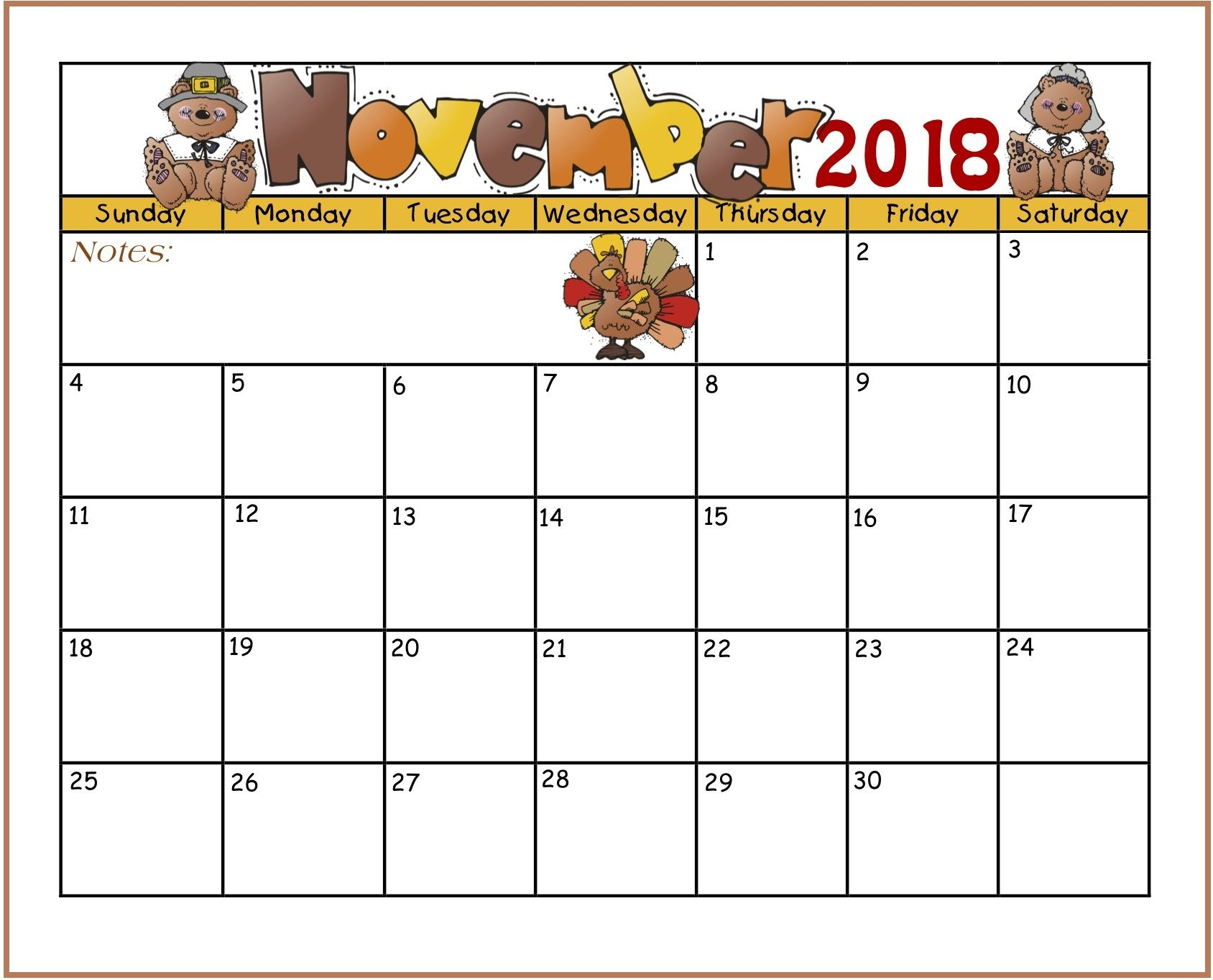 November 2018 Calendar Printable Templates Kids Calendar