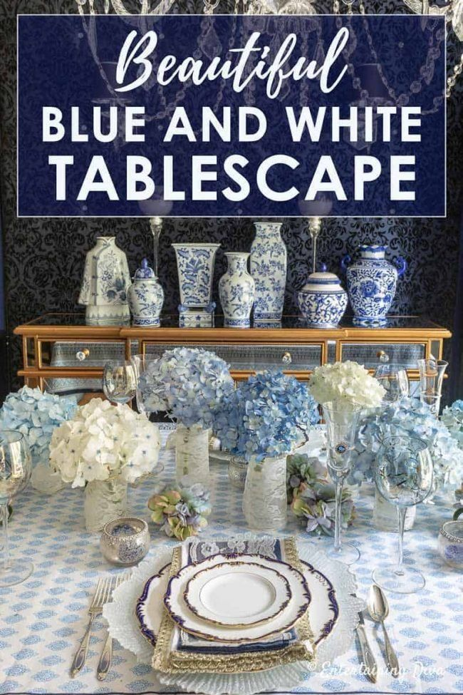 I love this blue and white summer tablescape! The hydrangea centerpieces are simple but beautiful, the navy, white and gold place settings are gorgeous, and the chinoiserie vases on the buffet are stunning. It would be perfect for a spring or summer wedding. #entertainingdiva #tablescapes #tablesettings #wedding #blueandwhite