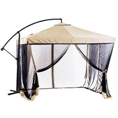 Exceptionnel Offset Tan Patio Umbrella Instant Gazebo With Mesh Netting