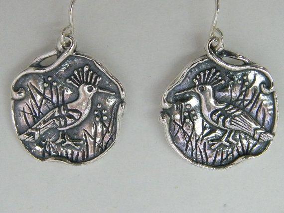 SHABLOOL Israele artigianalmente 925 Orecchini in argento genuino Upupa