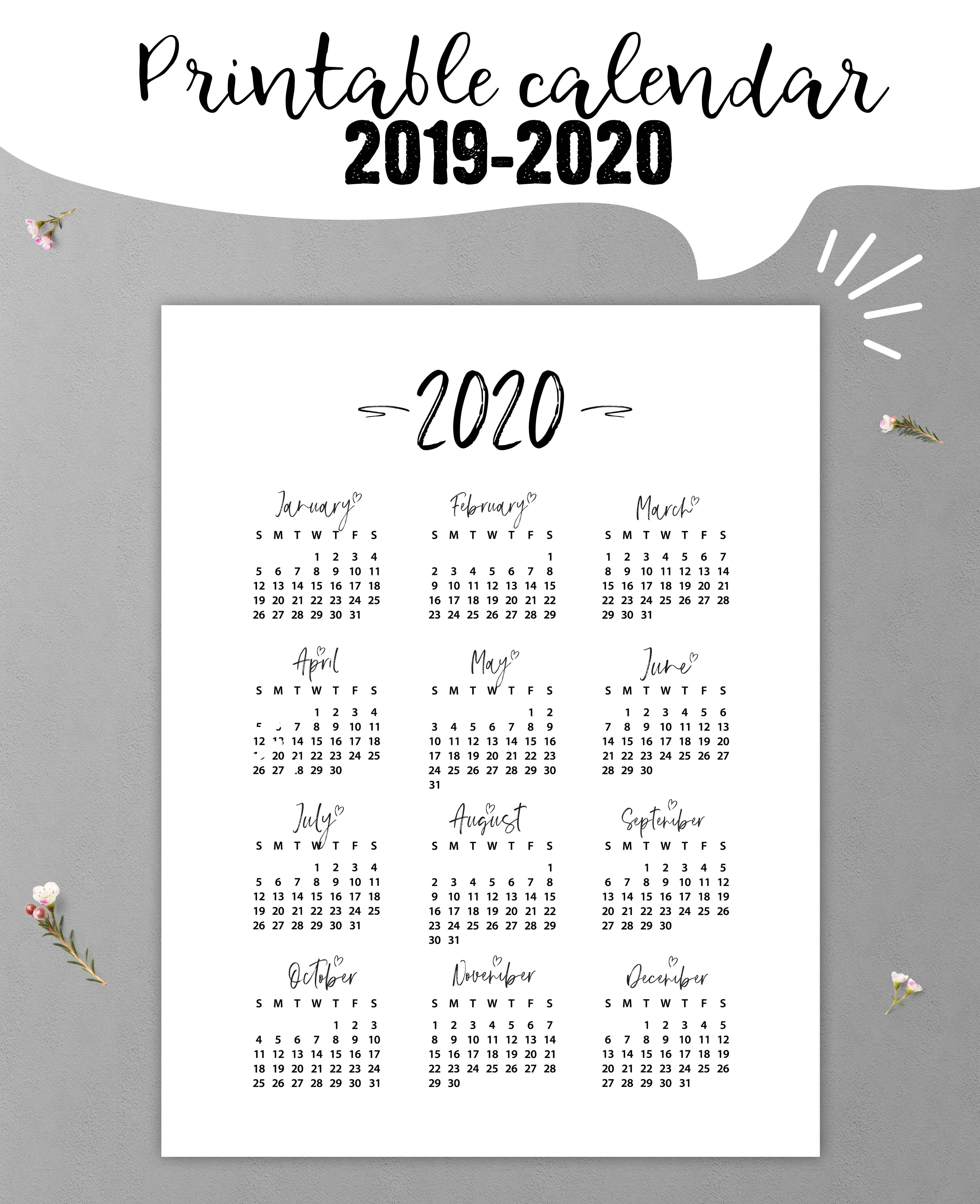 Printable 2020 2021 Yearly Calendar Planner Inserts 5x7 A5 A4