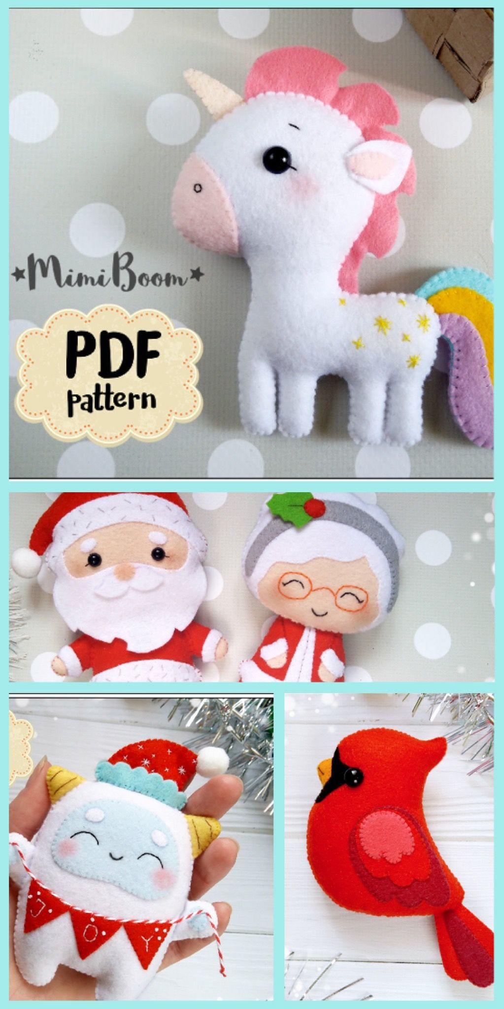 Cute Little Felt Ornaments To Make Download The Pattern Instantly