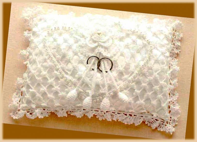 Crochet Wedding Pillow Cushion for rings   bodas   Pinterest   Vamos ...