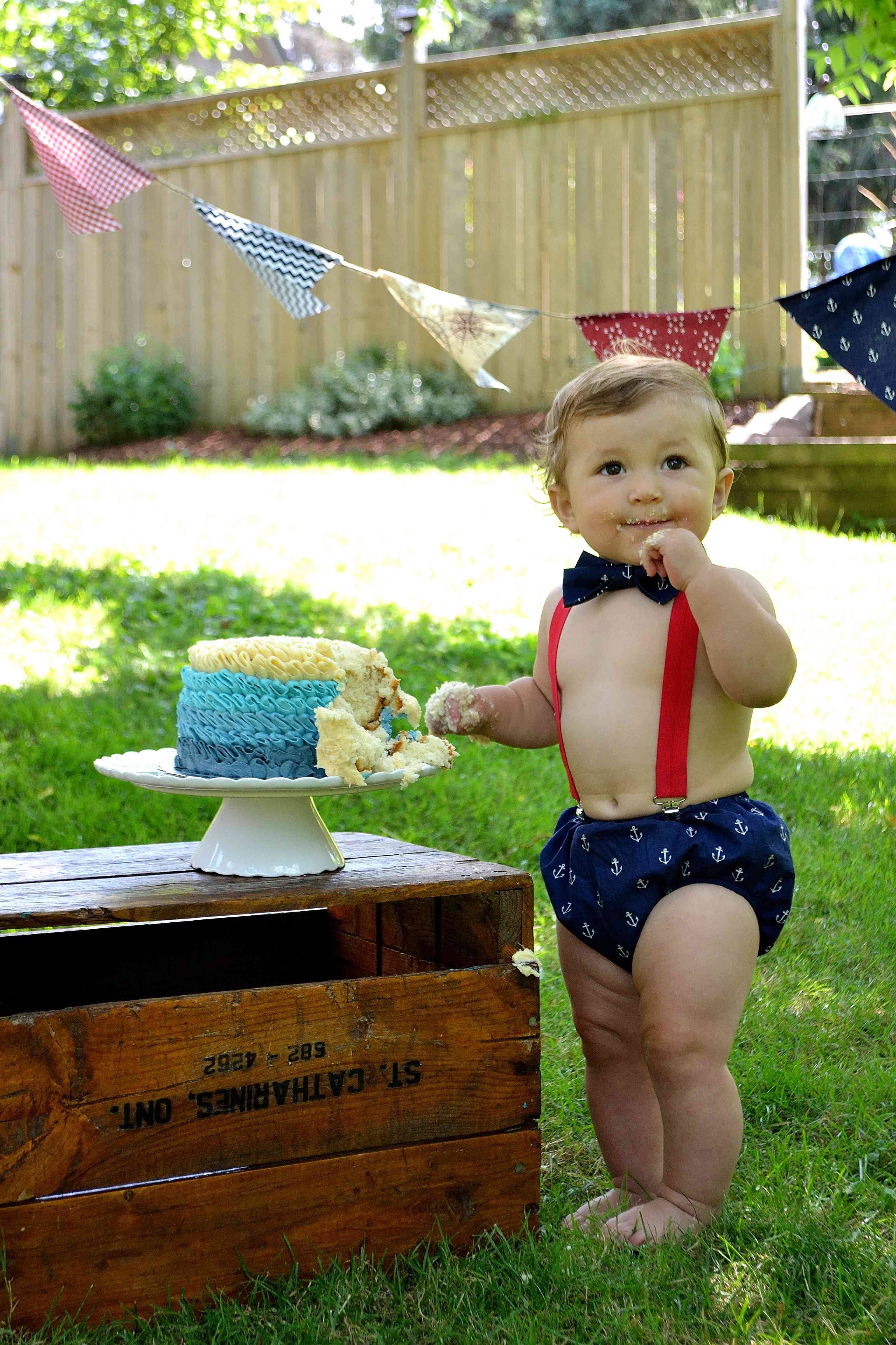 A diy nautical themed cake smash outfit with images