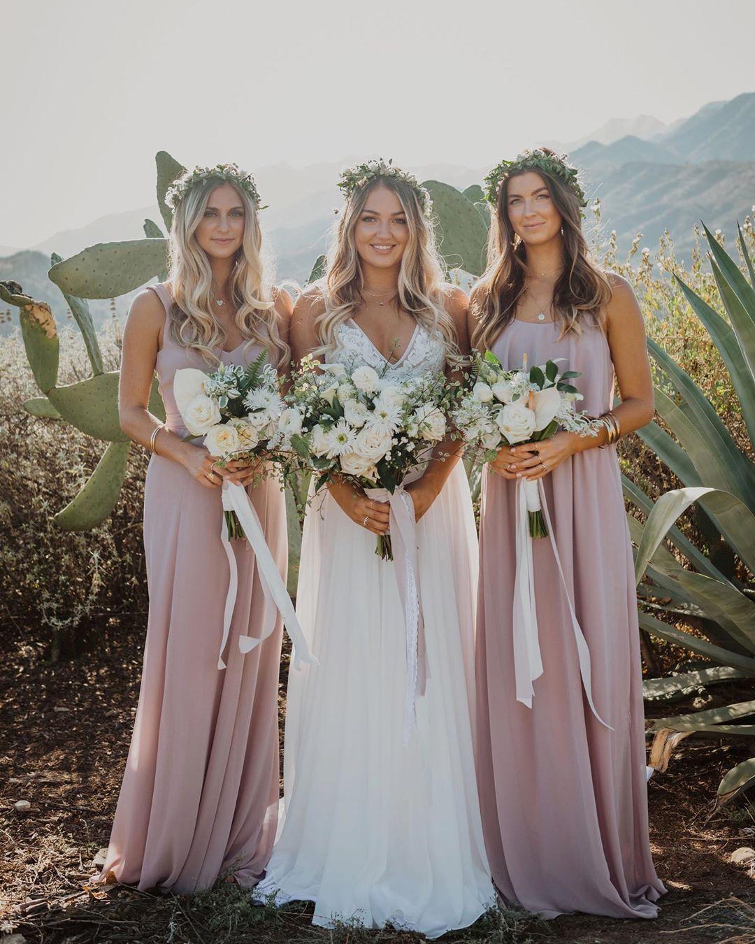 Mumu Weddings On Instagram Bridesmaids In The Desert Wearing Neutral Mauv In 2020 Mauve Bridesmaid Dress Muave Bridesmaid Dresses Neutral Bridesmaid Dresses