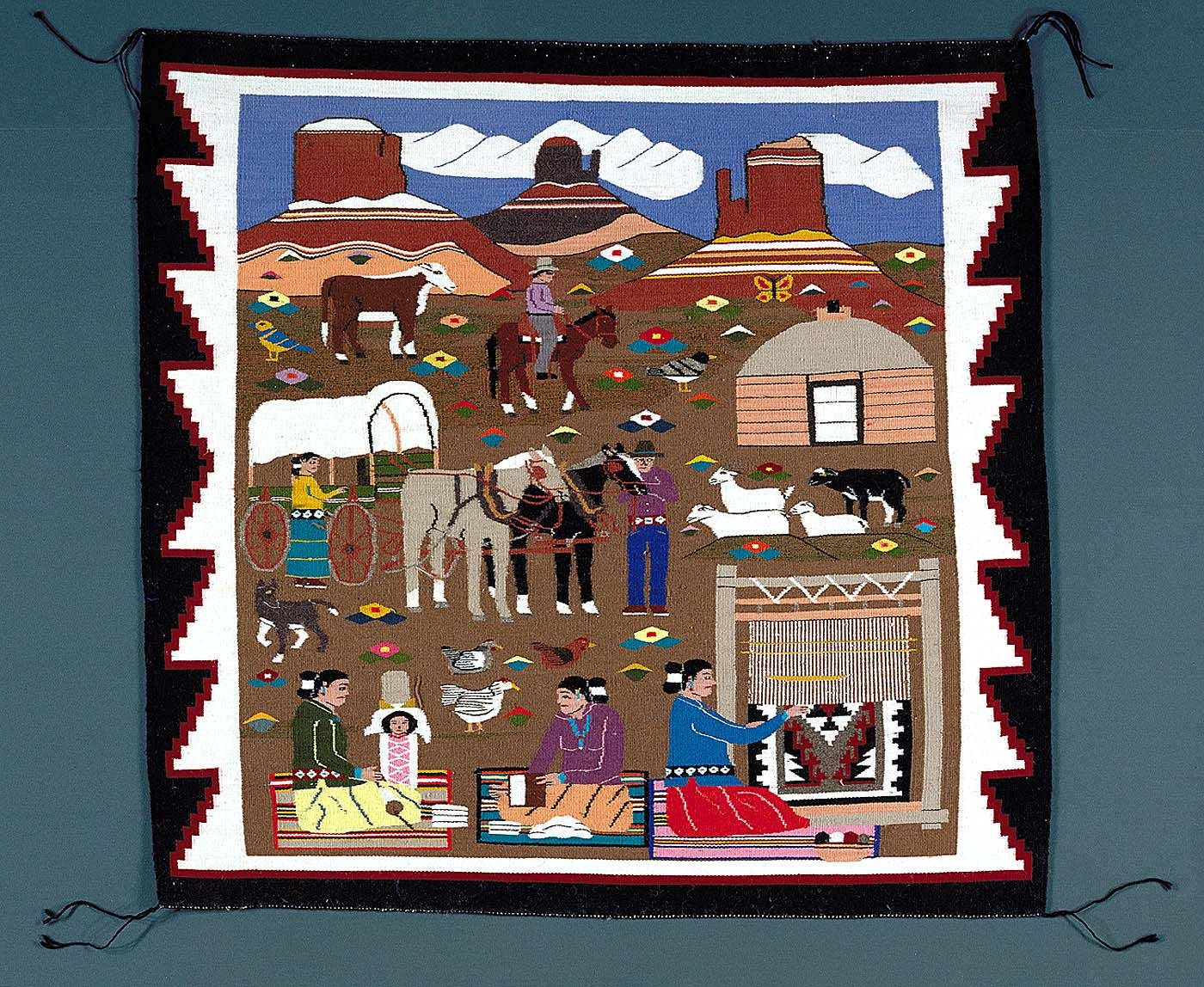 Reservation Scene Navajo Rug Woven By Louise Nez 1992
