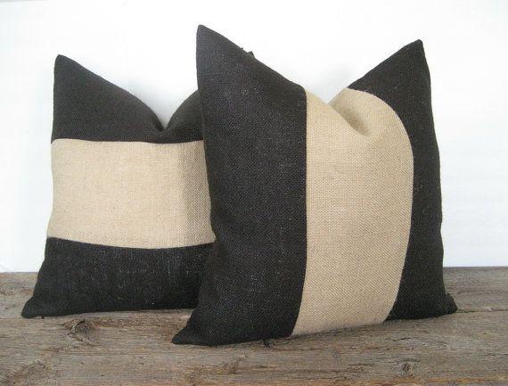 black burlap pillow cover natural stripe color block zipper opening id es pour la maison. Black Bedroom Furniture Sets. Home Design Ideas