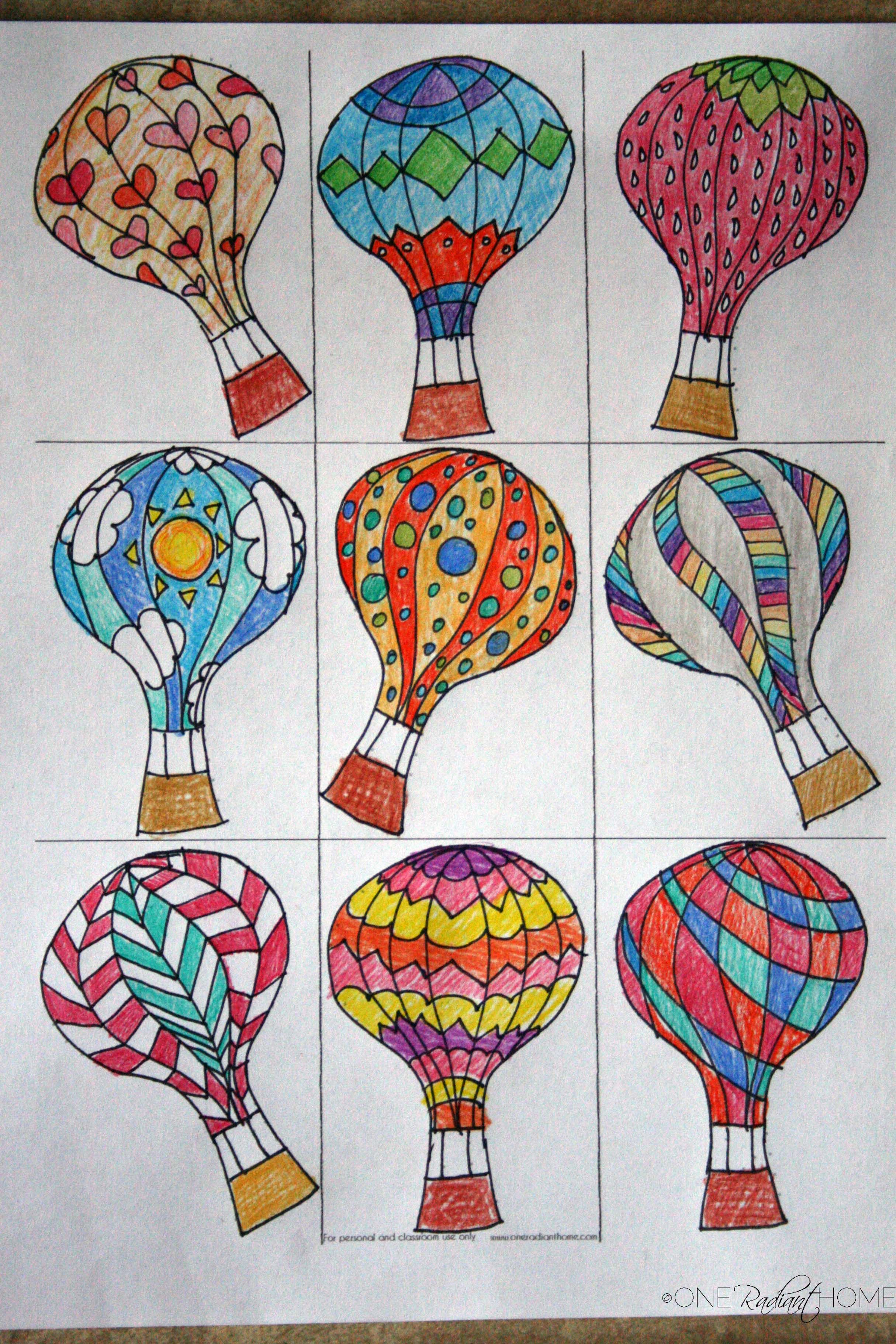 Hot Air Balloon Art  Drawing and Patterns  One Radiant Home