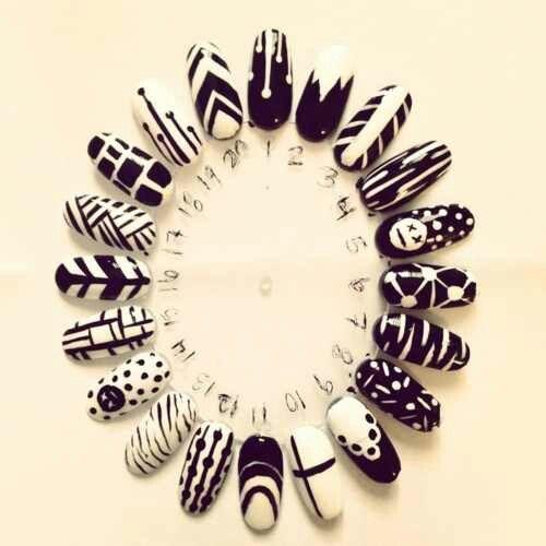 Black And White Designs Nails Pinterest