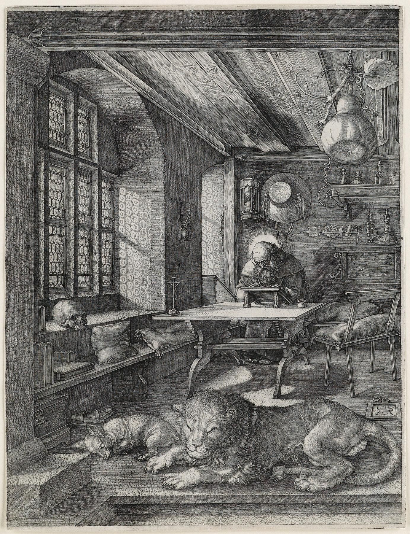 Albrecht Dürer St Jerome in His Study engraving 1514 from the