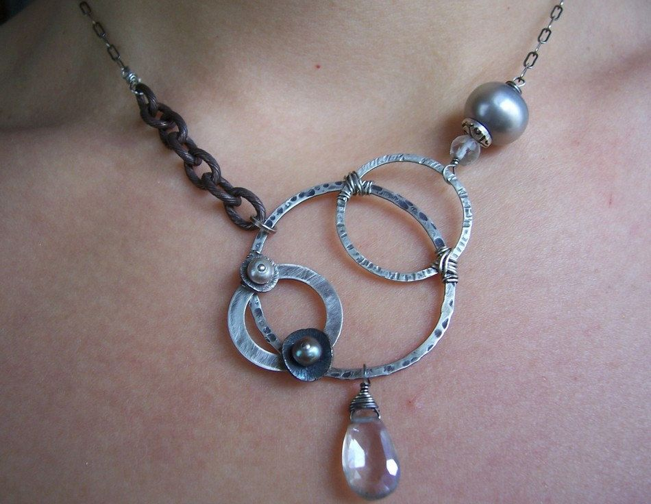 Industrial Evolution Necklace with Topaz and by dnajewelrydesigns