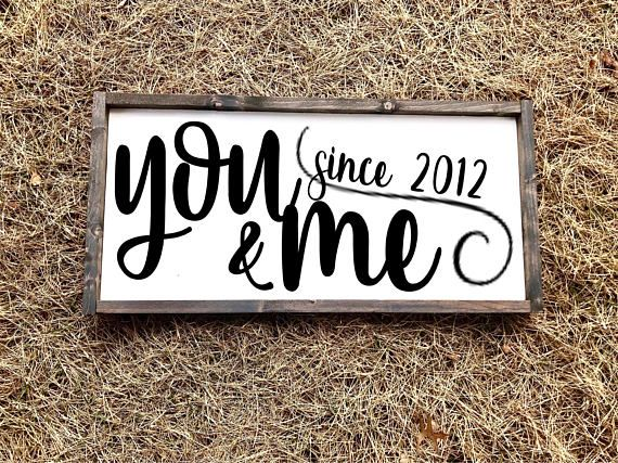 You and me sign   wood wall sign   bedroom sign   rustic country home decor   farmhouse style   large sign   you and me since   established is part of Cute Country home - Super cute statement piece for above your bed, fireplace, or just on an empty wall!  Wood is painted satin pure white, letters are matte black   Comes with sawtooth hangers on back for easy hanging!  Please choose stain color for the frame (Stain color choices are located in second picture of listing) IN THE NOTE TO SELLER BOX please leave me the year you need on the sign  Please contact me before you purchase if you would like to customize the further! (Other colors options, other size options, etc)  Please see our refund policy for returns and exchanges