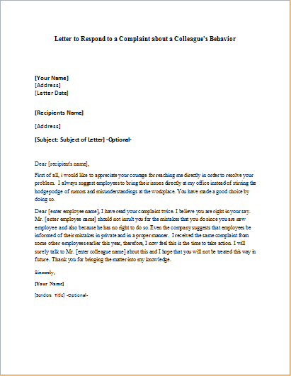 Reply Letter Sample