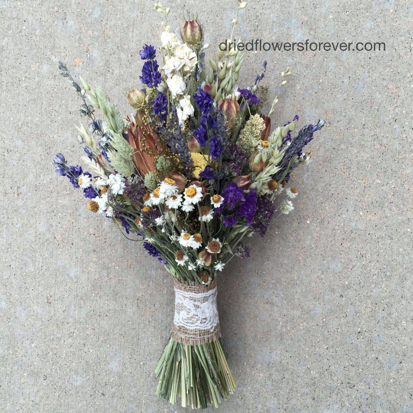 Purple Dried Flower Wedding Bouquet Natural Rustic Preserved Etsy Bridal Bouquet Green Flower Bouquet Wedding Wedding Bouquets