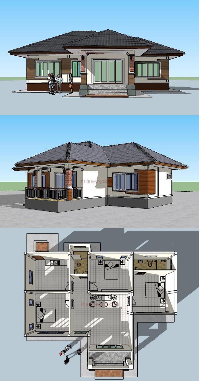 Modern 3 Bedroom House Plans 2020 Di 2020 Rumah Indah Rumah Pedesaan Denah Rumah Modern three bedroom design