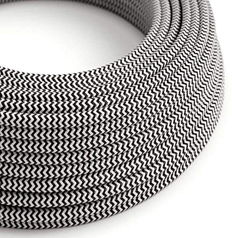 C/âble /électrique rond//rond avec rev/êtement en tissu Section 2/x 0.75 Noir Coton