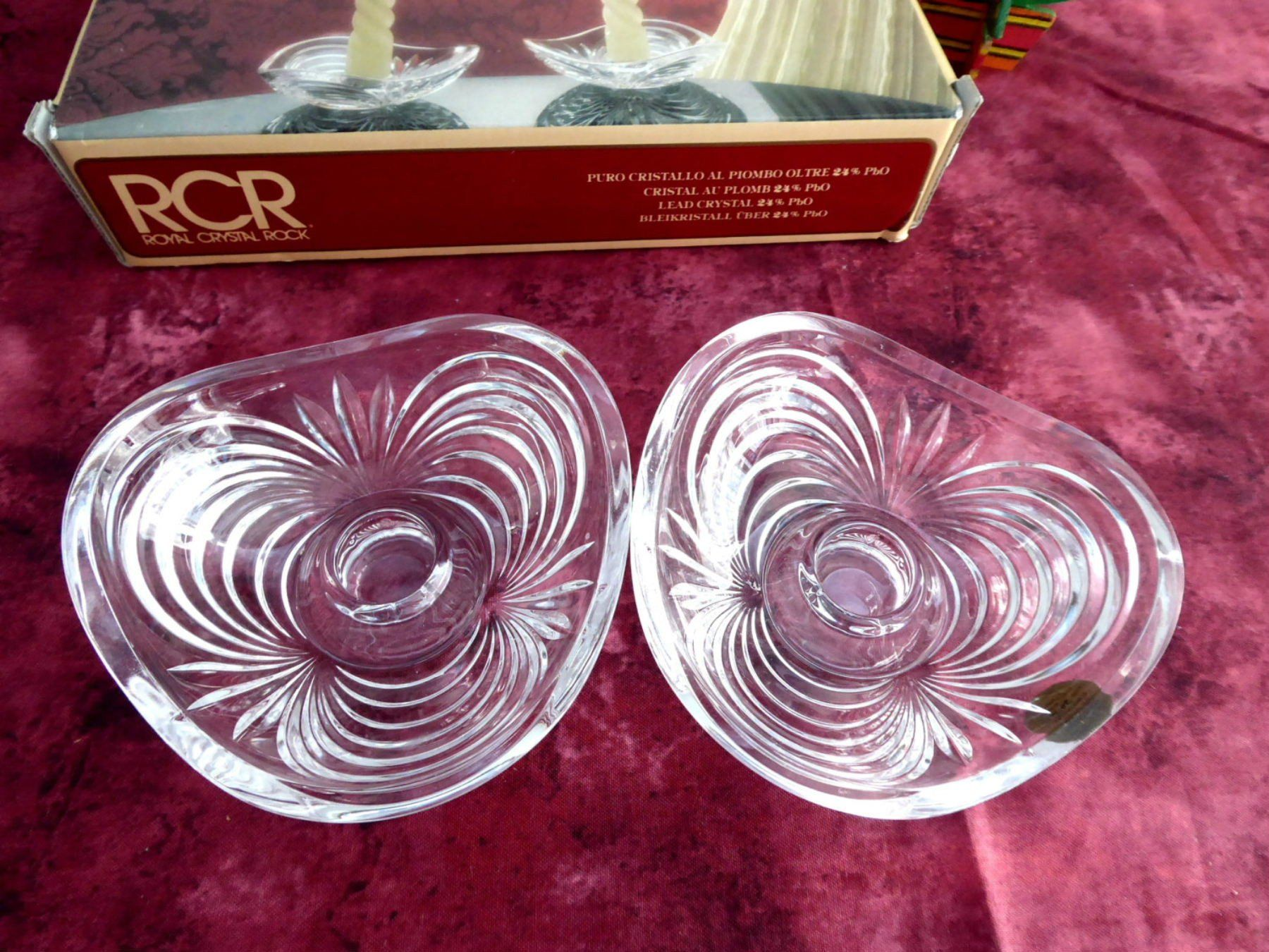 Pair Lead Crystal Candleholders Swirled Rcr Italy Vintage 1980s Dinner Party Boxed Lead Crystal Candle Holders Crystal Candle Holder