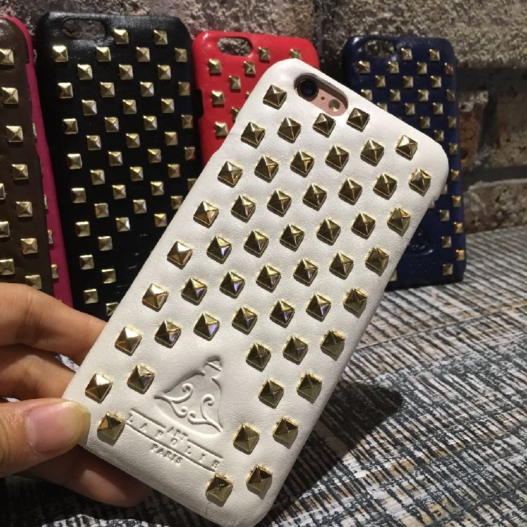 """fashion luxury brand gold Rivets pu phone cases for apple iphone 6 / 6s plus 5.5 """" & 6s 4.7 inch case cover bag"""