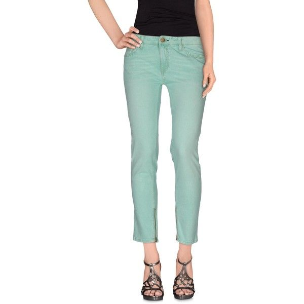 Shine Jeans ($30) ❤ liked on Polyvore featuring jeans, light green, zipper jeans, faded jeans, mid-rise jeans, slim cut jeans and green jeans