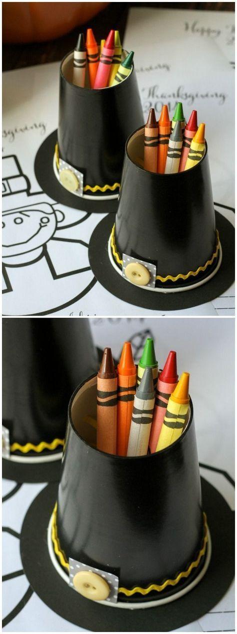 Pilgrim Hat Crayon Cups #thanksgivingdecorations