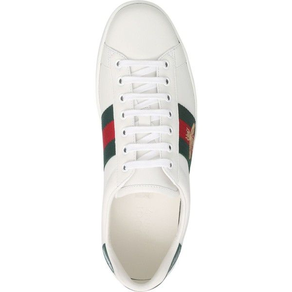 3ad15bbd3ba Gucci New Ace bee-embroidered trainers ( 560) ❤ liked on Polyvore featuring  men s