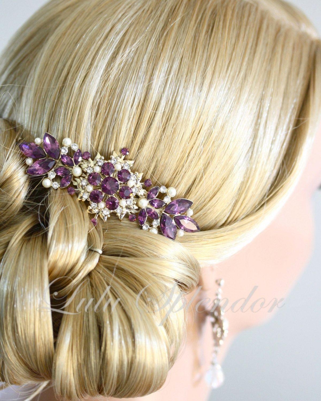 Bridal hair accessories for long hair - Vintage Amethyst Wedding Hair Comb Purple Wedding Hair Accessories Gold Comb