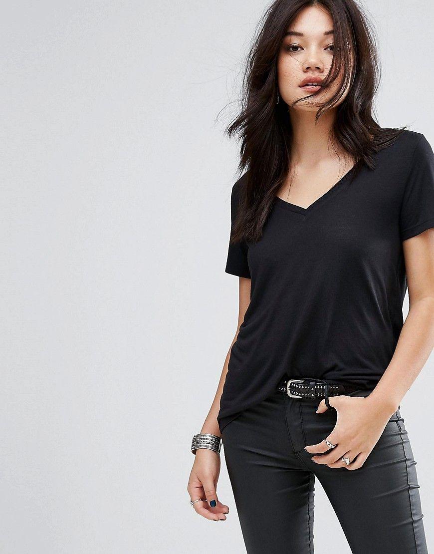 0199d6cbfb5b2 Vero Moda V Neck T-Shirt - Black