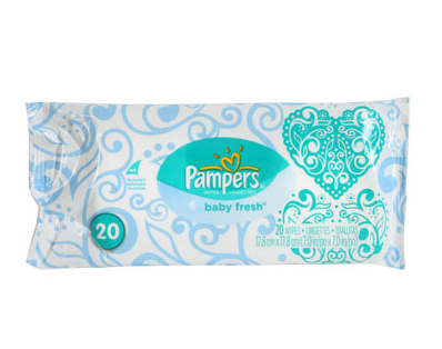 Accompany a diaper cake with the other baby essential: wipes. Each pack is only $1 at Dollar Tree.